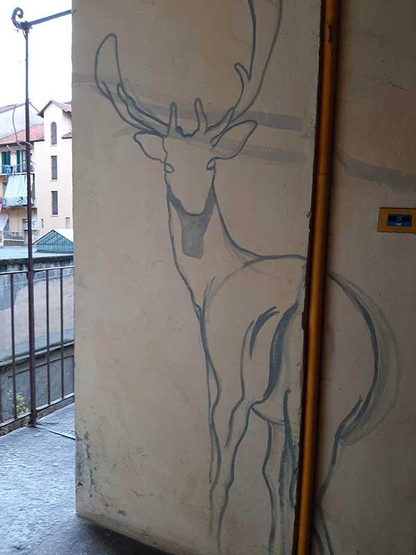 cerbiatto disegnato su un muro